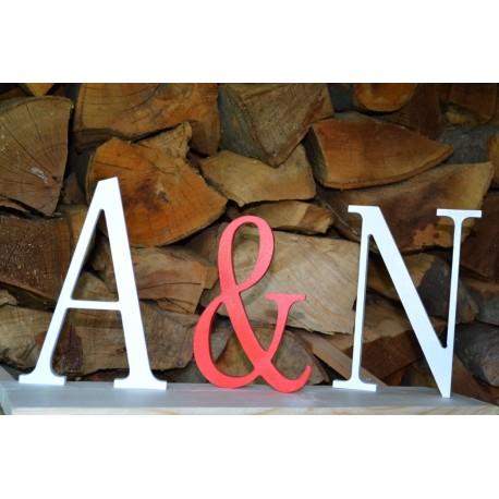Litery inicjały stojące malowane 21 cm