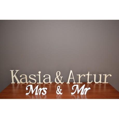 Literki z drewna napis na ślub