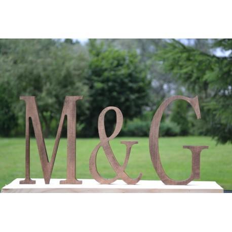 Ozdobne litery z drewna postarzane