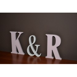 Dekoracje weselne litery stojące malowane