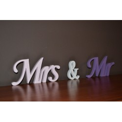 Ozdobne litery napisy 3D Mrs & Mr
