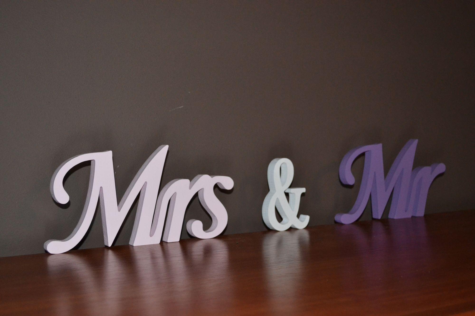 Ozdobne Litery Napisy 3d Z Drewna Mrs Mr