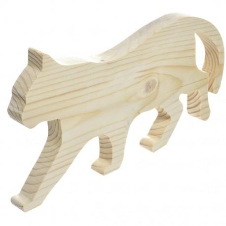 Kot z drewna skradający się