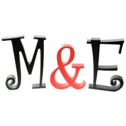 Inicjały weselne litery stojące przestrzenne