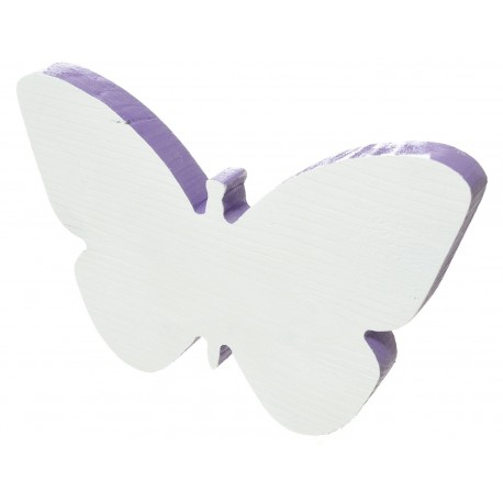 Motyl z drewna malowany biało- fioletowy