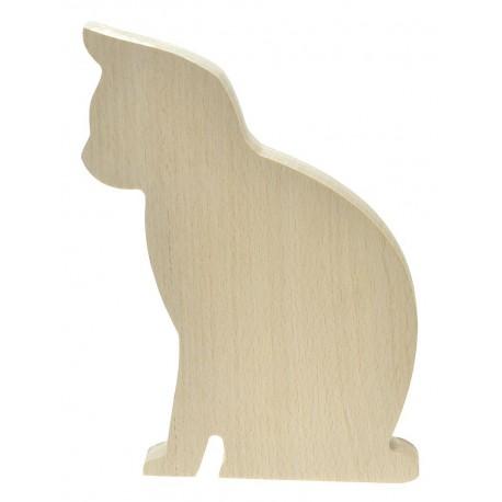 Kot z drewna bukowego ozdoba